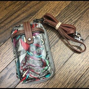 SAK ROOTS OWL PHONE CASE WALLET